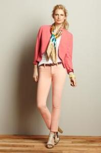 Adding a coral blazer gives this outfit a lot of depth